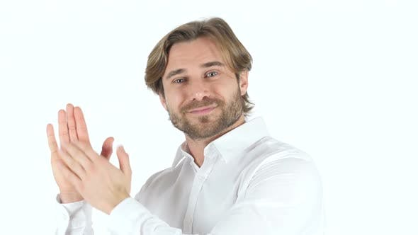 Thumbnail for Clapping Man on white Background