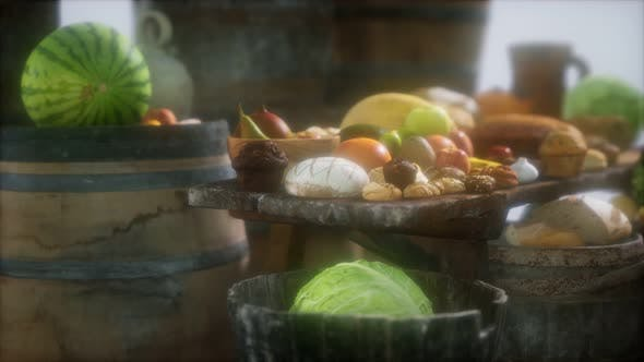 Thumbnail for Food Table with Wine Barrels and Some Fruits, Vegetables and Bread