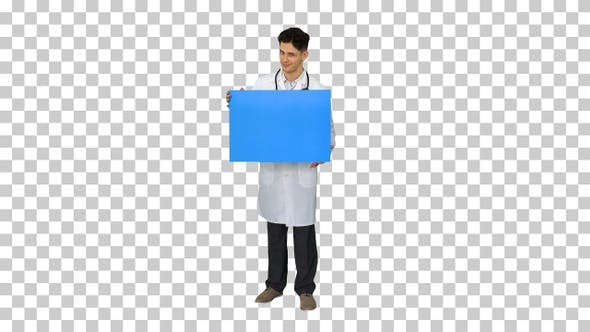 Thumbnail for Smiling Male Doctor Wearing a Stethoscope Holding Blank Poster