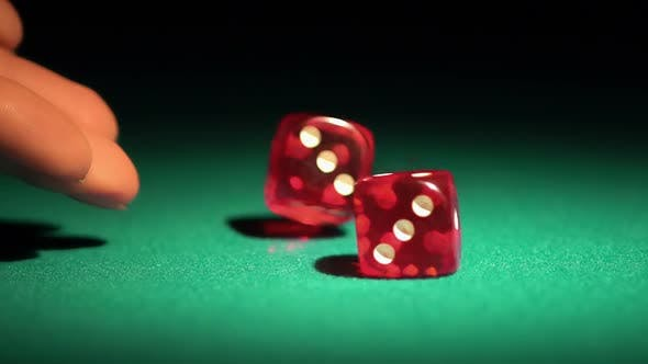 Thumbnail for Rolling dice in slow-motion. Gambler enjoying the chance to win a game in casino