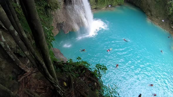 Thumbnail for Tropical Waterfall in Rainforest. Kawasan Falls on Cebu Island in Philippines