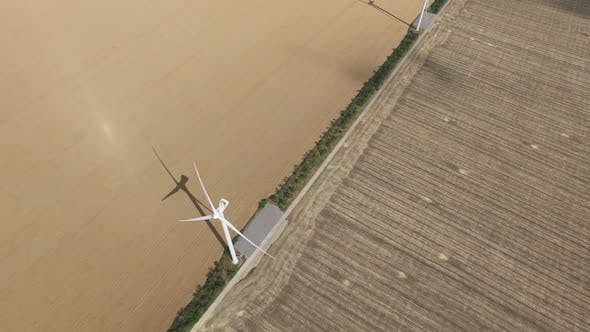 Thumbnail for Wind Turbines Generating Lot Energy in Golden Fields. Aerial Survey