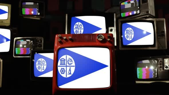 Flag of Minneapolis, City in the US state of Minnesota, and Old Retro TVs.