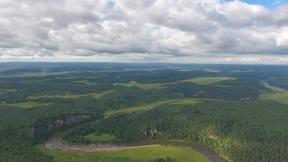Thumbnail for Aerial Landscape with River in Ural Mountains