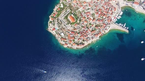 Cover Image for Flying above famous dalmatian nautical destination, Primosten, Croatia