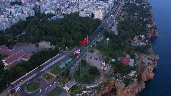 Cover Image for Aerial View Flag Countries In Antalya City