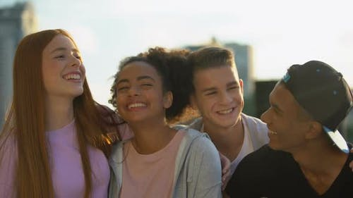 Joyful Multi-Racial Group of Young People Enjoying Friendship Unity, Having Fun