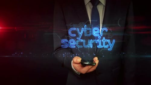Cyber security on businessman hand