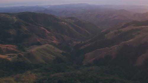 Rainforest landscape sunrise, Monteverde Cloud Forest, Costa Rica. Aerial drone view