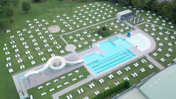 Open Air Empty Pubblic Swimming Pool Aerial View