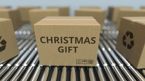 Carton Boxes with CHRISTMAS GIFT Text Move on Roller Conveyor. Loopable 3D Animation