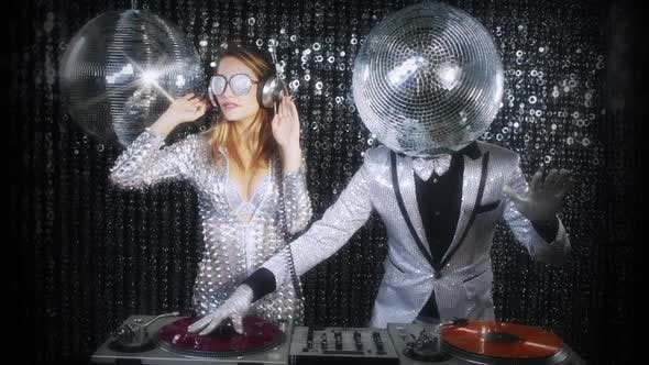 disco man woman sexy discoball glitterball party music dj