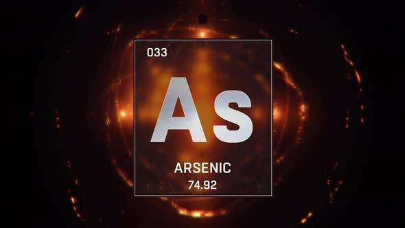 Arsenic as Element 33 of the Periodic Table on Orange Background