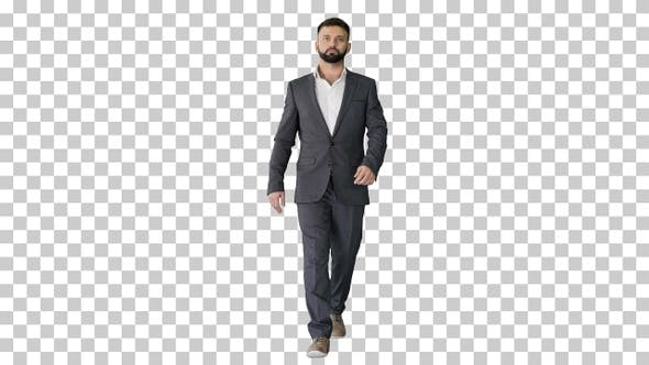 Serious businessman with a beard and in, Alpha Channel