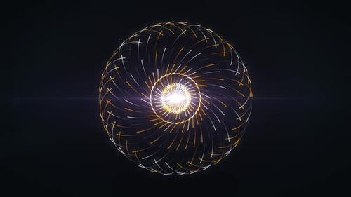 Glowing pulsating sphere and spreading lines