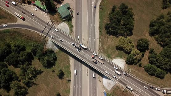 Thumbnail for Top Down Aerial View of Transportation Highway Overpass, Ringway, Roundabout