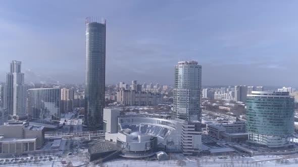 Aerial view of Ekaterinburg city with modern glass facade buildings. Russia 12
