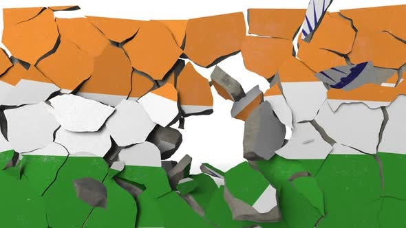 Destroying Wall with Painted Flag of India