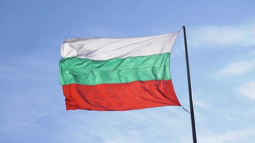 Bulgarian Flag on a Flagstaff with the Flag Waving in Wind