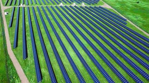 Environmentally Friendly Green Energy Farm. Modern Solar Power Plant