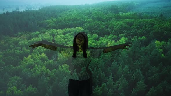 Nature Harmony Forest Aerial View Woman Flying