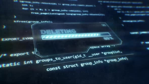 Computer Code Displayed on Sci-Fi Screen as Deleting Message is Displayed
