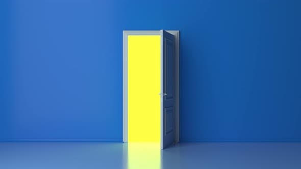 Yellow light inside the open white door isolated on blue background