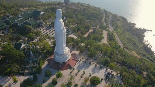 Aerial Shot of the Socalled Lady Buddha in the City of Danang