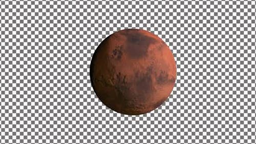 Mars Planet Rotating With Alpha