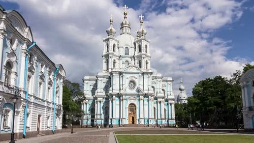 Smolny Cathedral in tracking, St. Petersburg, Russia
