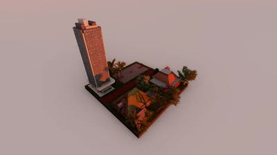 Isometric housing in the countryside