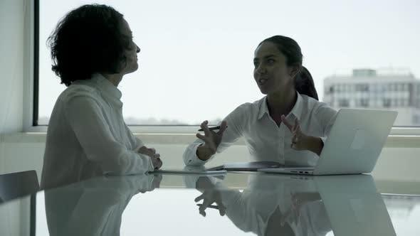 Thumbnail for Smiling Businesswomen Using Laptop and Talking