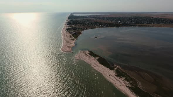 Thumbnail for Aerial Shot of Semicircular Sand Line at the Black Sea Shoal on a Sunny Day in Summer