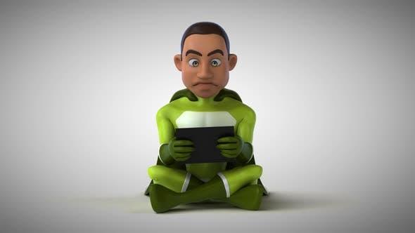 Thumbnail for Fun 3D cartoon superhero typing on a laptop