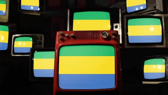 Thumbnail for Flag of Gabon on a Retro TV Wall.