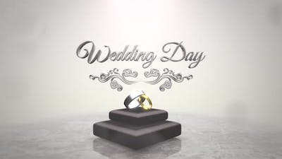 Wedding Day and rings of love on wedding date
