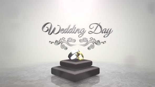 Hochzeitstag und Ringe der Liebe am Hochzeitsdatum