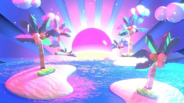 Neon Tropical Island