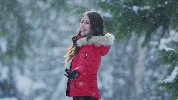 Girl enjoying a winter day