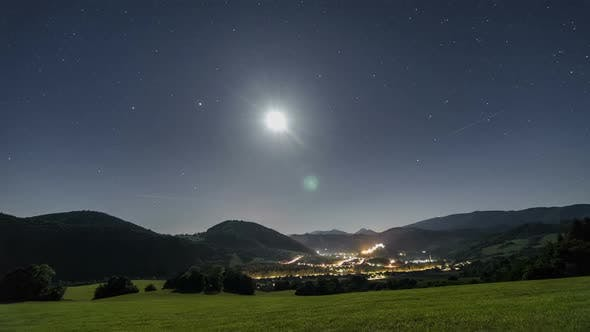 Thumbnail for Starry Night Sky with Moon Light over Rural Country