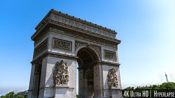 4K Time Lapse Arc de Triomphe in Paris Arch of Triumph at France