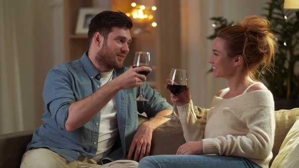 Thumbnail for Happy Couple Drinking Red Wine at Home in Evening 47