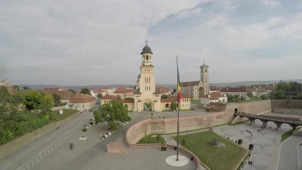 Aerial view of the citadel of Alba Iulia