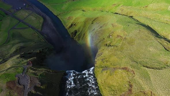 Cover Image for Flying Above a Rainbow Over the Skogafoss Waterfall in Iceland