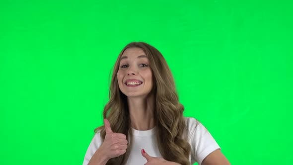 Thumbnail for Lovable Girl Showing Thumbs Up, Gesture Like. Green Screen