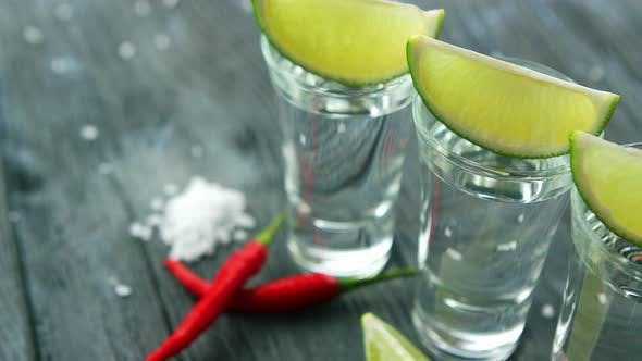 Thumbnail for Served Shots with Tequila and Lime Slices