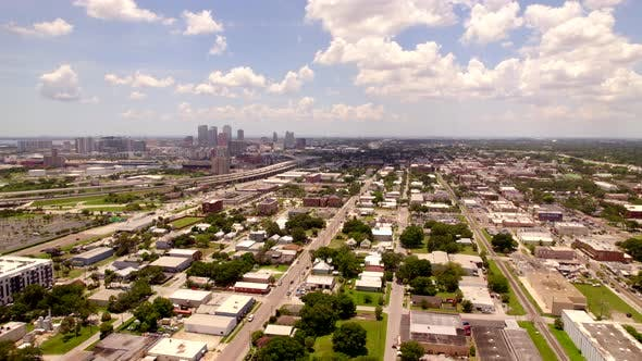 Ybor City Approaching Downtown Tampa Fl Usa Aerial 4k Clip