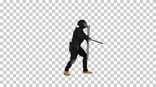 Special unit policeman running into the, Alpha Channel