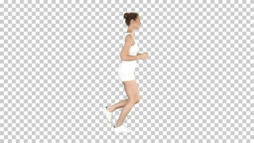 Athletic woman running, Alpha Channel