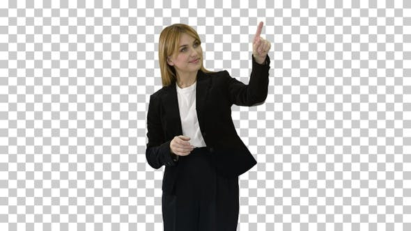 Thumbnail for Young business woman presenting something, Alpha Channel